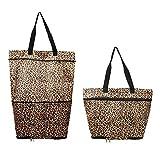 Faltbare Einkaufstasche mit Rollen, faltbare Trolley-Tasche auf Rädern für Frauen, wiederverwendbarer Einkaufstrolley, strapazierfähig & faltbar für einfache Lagerung #7747 leopardenmuster