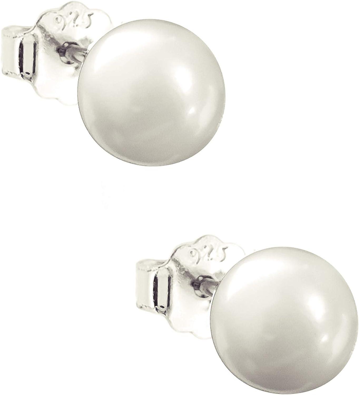 ENTREPLATA Pendientes de Perlas Mujer Plata de Ley 925 Par de Pendientes para Mujer y Ni/ña con Perlas Naturales Cultivadas Redondas de excelente calidad Disponibles de 5 a 10 mm.