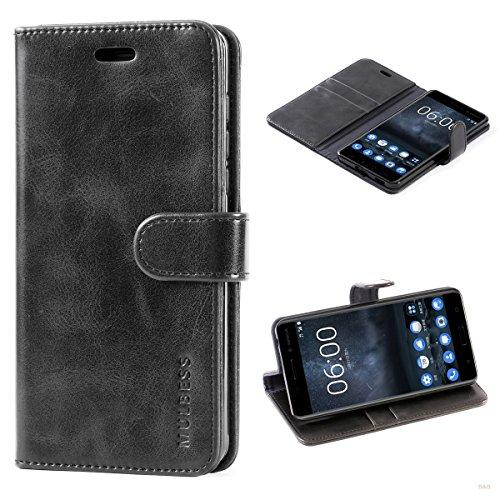 Mulbess Handyhülle für Nokia 6 Hülle Leder, Nokia 6 Handy Hüllen, Vintage Flip Handytasche Schutzhülle für Nokia 6 Hülle, Schwarz