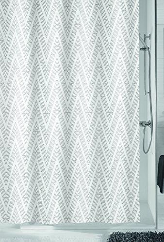 Kleine Wolke Zigzag Duschvorhang, Polyester, Schiefer, 180 x 200 x 0.2 cm