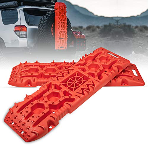 FieryRed Traction Boards with Jack Lift Base - 2 Pcs Traction Mat Recovery for Sand Mud Snow Track Tire Ladder 4X4 - Traction Tracks, Size: 42.57 inch (L) x 12.4 inch (W) X 2.6 inch (H), RED