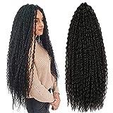 Brazilian Braids Crochet Hair 20 Inch Kinky Curly Faux Locs 3 Packs Synthetic Hair (20inch, 1B#)