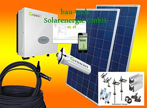 bau-tech Solarenergie 1000Watt Photovoltaikanlage für Eigenverbrauch Plug & Play Komplettset mit Montagematerial für Flachdach GmbH