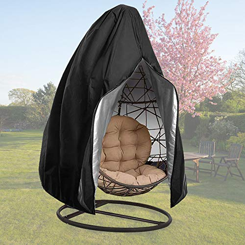 【Upgraded】 Patio Hanging Chair Covers with Zipper, Durable Large Wicker Egg Swing Chair Covers, Waterproof Heavy Duty Weather Resisatnt Outdoor Chair Cover, Windproof Egg Chair Cover