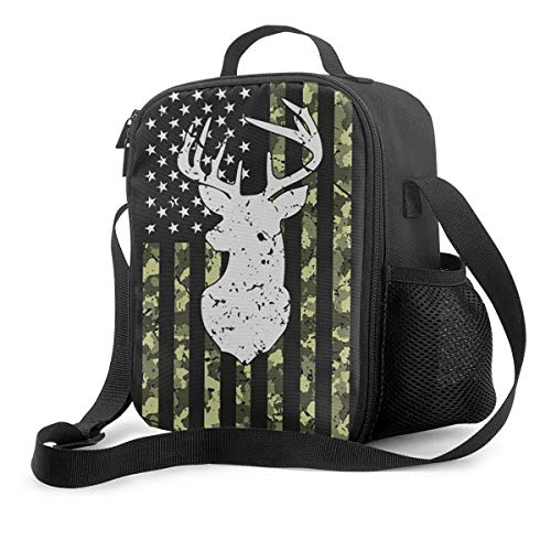 Camouflage American Flag Deer Hunting Isolierte wiederverwendbare Lunch-Tasche Lebensmittelbehälter Tragbare Lunch-Tasche Verstellbarer Gurt für die Arbeit in der Schule Büro Reisefischen