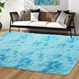 CAROMIO Fluffy Soft Area Rug, Shag Fuzzy Foyer Rug for Entryway Non-Skid Small Furry Plush Accent Rugs for Living Room Bedroom Nursery Rug Playroom Area Rug for Kids Carpets, Light Blue, 5' x 8'