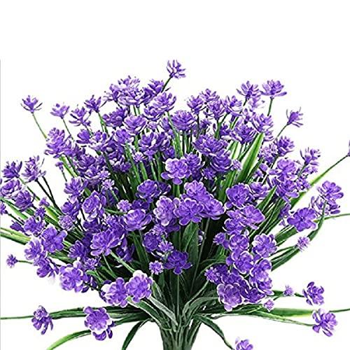 KKSTY 5 Bundles Outdoor Artificial Flowers, UV Resistant Plastic Flowers Faux Greenery Shrubs Plants for Hanging Planter Home Wedding Garden Decor (Purple)