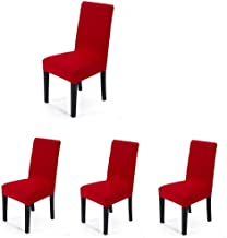4 pieces Spandex Stretch Washable Dining Room Chair Cover Protector Seat Slipcovers (Red, 4)