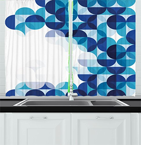 """Ambesonne Abstract Kitchen Curtains, Modern Geometrical Circled Pattern Plain Background Artwork, Window Drapes 2 Panel Set for Kitchen Cafe Decor, 55"""" X 39"""", Azure Blue"""