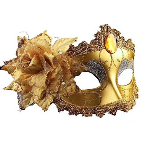 Harpily Maschera Veneziana Vintage Donna con Fiore Maschera per Gli Occhi Mezza Faccia per Danza Fenicottero Oggetti di Scena Metallo Maschera Stile Fancy Sexy (Oro)
