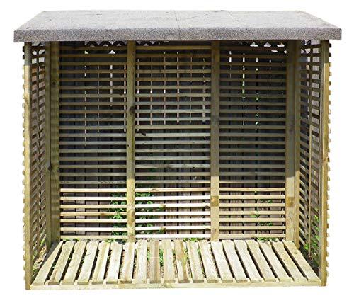 Gartenpirat Kaminholzregal mit Rückwand für 1,8 m³ Brennholz, aus Holz KDI grün