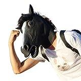 CreepyParty Deluxe Novelty Halloween Costume Party Latex Animal Head Mask (black horse)