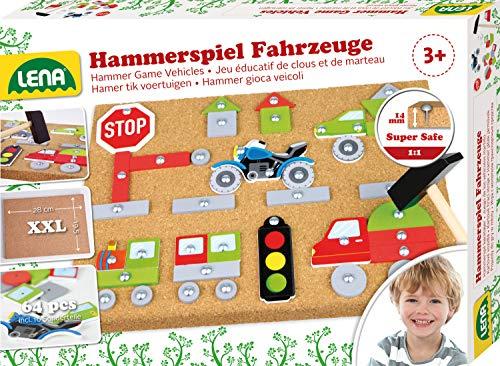 Lena 65826 Hammerspiel Fahrzeuge, Nagelspiel mit 64 farbigen Teilen in verschiedenen Formen, Grundplatte aus Kork, ca. 28 x 19,5 x 1,4 cm, Hammer und Nägel, Hämmerchenspiel für Kinder ab 3 Jahre, Bunt