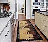 Ottomanson Siesta Collection Kitchen Chef Design (Machine-Washable/Non-Slip) Runner Rug, 20' x 59', Beige