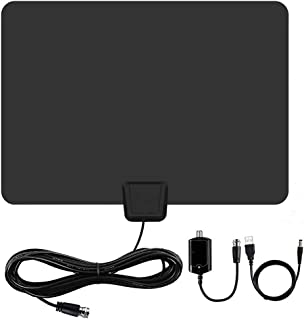 [Newest] Indoor Amplified HD Digital TV Antenna up to 120+ Miles Range -PACOSO HDTV Antenna with Amplifier Signal Booster for 4K 1080p Fire tv Stick Local Channels and All TV's,Long Coaxial Cable