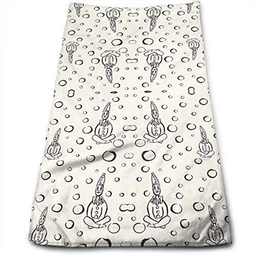 DDHHFJ Pierrot Clowns Meditate Bath Towels for Bathroom-Hotel-Spa-Kitchen-Set - Circlet Egyptian - Highly Absorbent Hotel Quality Towels