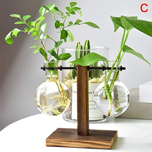 Lo Tafel bureaulamp glas hydrocultuur vaas bloem bloempot met houten schaal kantoor decor