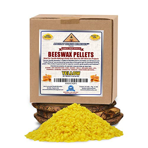 All Natural Cosmetic Grade YELLOW BEESWAX PELLETS PASTILLES 5 LB 80 oz Triple Filtered Ideal for DIY Skincare Candle Making amp Lip Balms by Ancient Health Remedies All Natural Cosmetic Grade