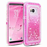 Dexnor Galaxy S8 Case, Glitter 3D Bling Sparkle Flowing Quicksand Liquid Bumper Clear 3 in 1 Shockproof TPU Silicone + PC Heavy Duty Protective Defender Cover for Samsung Galaxy S8 - Pink