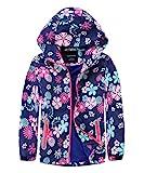 M2C Girls Outdoor Waterproof Floral Fleece Lined Windproof Jacket 7/8 Navy