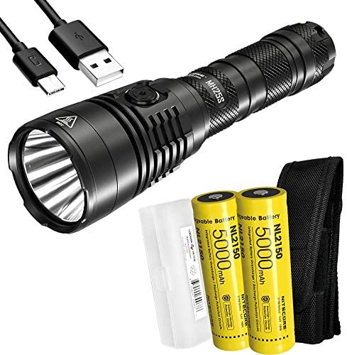 Nitecore MH25S 1800 Lumen Rechargeable Tactical Flashlight Long Throw with 2X 5000mAh Battery product image