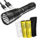 Nitecore MH25S 1800 Lumen Rechargeable Tactical Flashlight, Long Throw with 2X 5000mAh Battery and LumenTac Battery Organizer