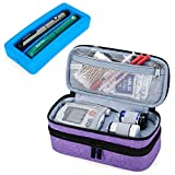Luxja 2 Layers Insulin Case with an Ice Pack - Holds 6 Vials (10ml) or 2 Insulin Pens, Diabetic Bag with Supplies Storage Pockets, Purple