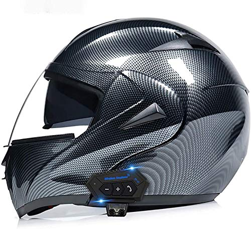 QDY Cascos Bluetooth para Motocicleta, Cascos modulares con Visor Doble abatible hacia Arriba, Casco Aprobado por Dot/ECE, Sistema de comunicación por intercomunicador Integrado MP3 FM Integra