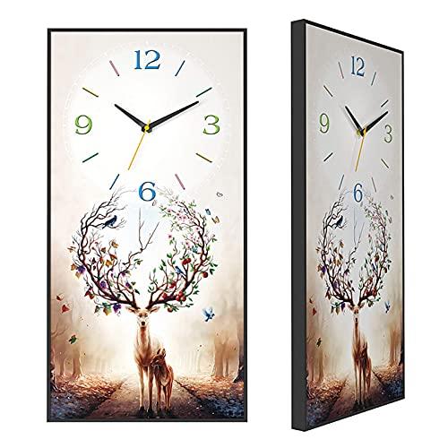 Reloj de jardín, Reloj de Pared para Interiores, Ciervos, Pintura Decorativa, Reloj de Pared silencioso, 11.8 x 23.6 Pulgadas, Estilo Moderno, Panel de MDF, Reloj de Pared, Sala de