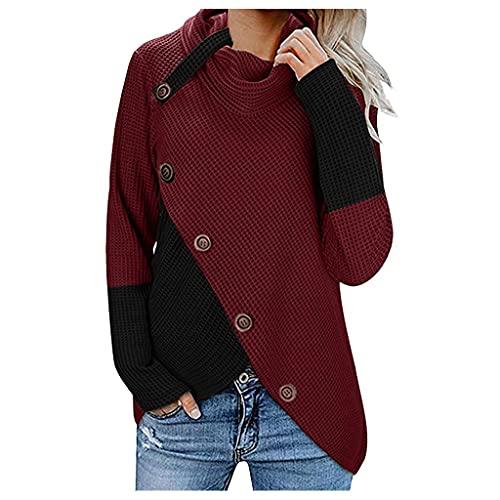 Jerseys Mujer Modernos Baratos Jersey Dobladillo Asimétrico Suéter Irregular Collar de la Pila Tops Abrigo Entretiempo Mujer Jersey de Punto Mujer Empalme Vino Rojo/Gris/Azul/Caqui S/M/L/Xl/Xxl