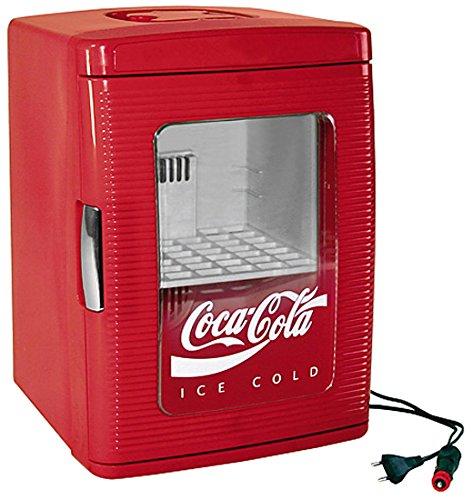 EZetil Coca-Cola Mini Kühlschrank 25 mit transparenter Tür, 12/230V - 23L mit Kühl- und Warmhaltefunktion für Getränke und Speisen, Energieeffizienzklasse A++, rot