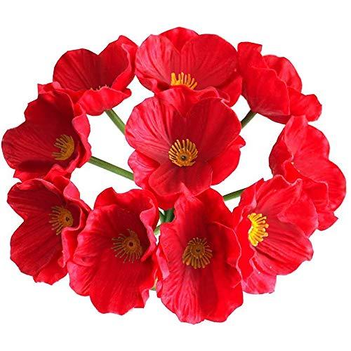 VKTY Flores artificiales de amapola, 10 piezas de adorno de amapola de poliuretano de tacto real, 32 cm de maíz rojo, amapolas de tallo largo realistas, para arreglos florales, manualidades