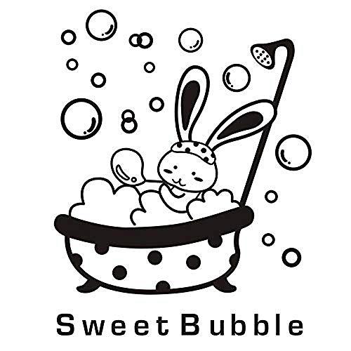 Muursticker Jhping Muursticker grote douche glazen deur sticker Cartoon dier konijntje schattig waterdicht baby badkamer decoratieve muurkunst sticker