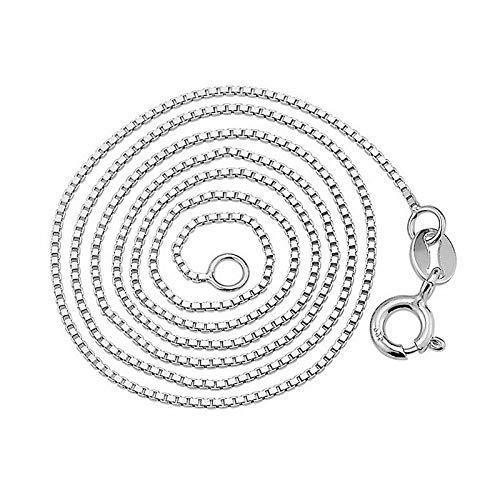 LXWLXDF- Collar De Plata Esterlina S925, Collar De Caja De Mujer con Personalidad Creativa, Collar De Mujer De Todo Fósforo (Size : 1mm)