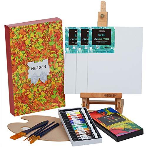 MEEDEN 22-teiliges Acryl-Malset mit 47,8 cm Tisch-Staffelei, 12 Farben Acrylfarben, 3 Leinwandplatten, 5 Malpinsel und Holzpalette, Kunst-Malzubehör für Anfänger