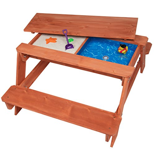 Svan Kid's All in One Convertible Indoor/Outdoor Picnic, Sand & Water Table w/Removable Top (43 X 35 X 19 in) - Made of 100% Wood for Safe & Fun Play