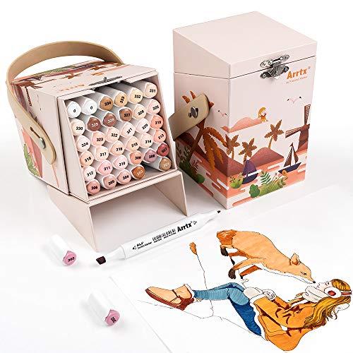 Arrtx ALP 36 Skin colores rotuladores alcohol permanentes de doble punta, Artista Boceto Marcadores Set con caja portátil de para dibujar, pintar dibujos animado, colorear diseños de retrato