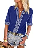Chase Secret Women V Neck Floral Embroidered Print Summer Casual T-Shirts Boho Style Tops Loose Blouses Blue Small