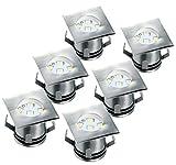 Ranex 5000.476 LED-Bodeneinbaustrahler (6er-Set) für Außen / eckig / befahrbar / belastbar bis zu 1.250 kg / 12 Volt Niedervolt (inkl. Netzteil) / 12m Kabel