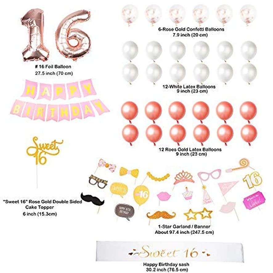 54 Pack Bonus - Ultimate Sweet 16 Party Bundle | Cake Topper | Birthday Sash | Birthday Banner | Photo Booth Props | 100% Satisfaction Guaranteed