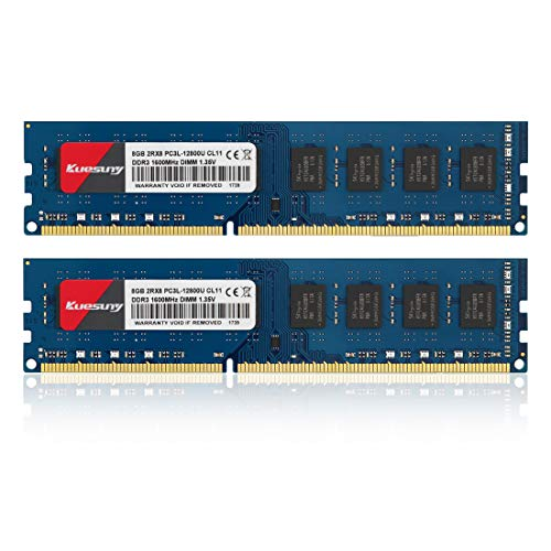 Kuesuny 16GB Kit (2x8GB) DDR3 PC3-12800U 1600MHZ PC3L-12800 DDR3L 1600 UDIMM 1.35V/1.5V 240Pin Non-ECC Unbuffered 2RX8 CL11 Dual Rank Desktop Memory RAM