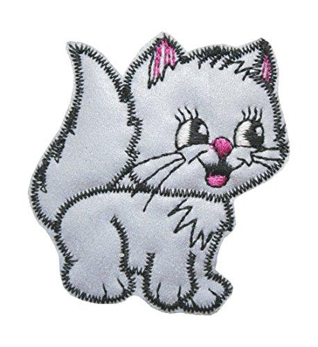 B2Q Aufnäher Bügelbild Aufbügler Katze reflektierent 50x55mm (1012)