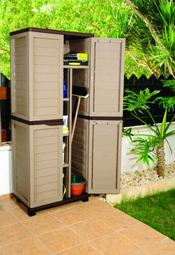 Proqom 6ft Mocha Plastic Garden Storage Utility Shed Cabinet with shelves