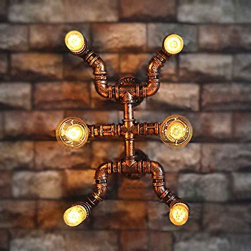 YXNKK Aplique Tubería de Agua Retro, Interior Lámpara de Pared Industrial Vintage, 6 Casquillos E27, Luz de Pared Steampunk de Metal Decoración para Pasillo Bar, Color óxido,With edison bulb