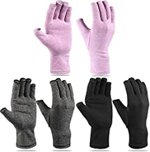 3 Pairs Craft Gloves Hands Compression Gloves Fingerless Pressure Gloves Joint Relief Hand Gloves for Quilting Support Sewing Knitting Typing Household Duties (L,Black, Gray, Purple)