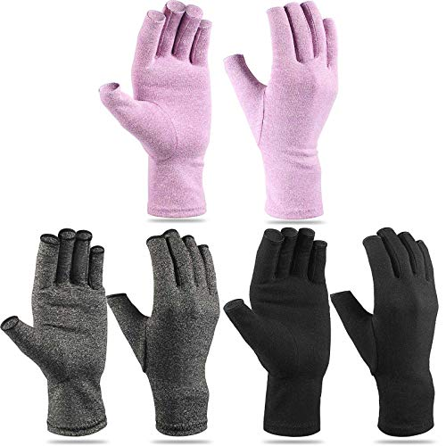 3 Pairs Craft Gloves for Arthritis Hands Arthritis Compression Gloves Fingerless Pressure Gloves...