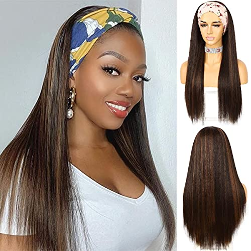 QD-Udreamy Gluess Headband Wigs for Black Women Straight Synthetic Lace Front Wigs with Headband Attached for Women None Lace Wig Easy to Wear Glueless Machine Made Wig
