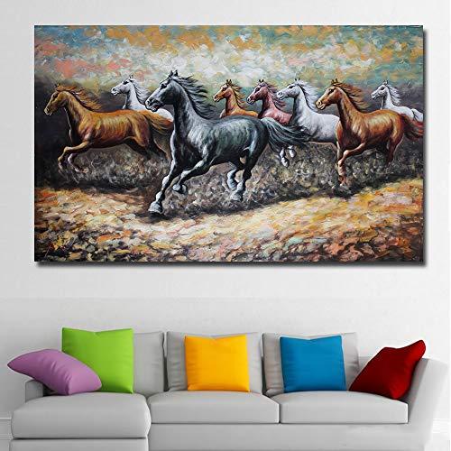 YuanMinglu Abstraktes Tier acht Pferde Vollbild Leinwand Pferd Bild Wandkunst Druck Druck Poster Wohnzimmer Wohnkultur rahmenlose Malerei 50x80cm