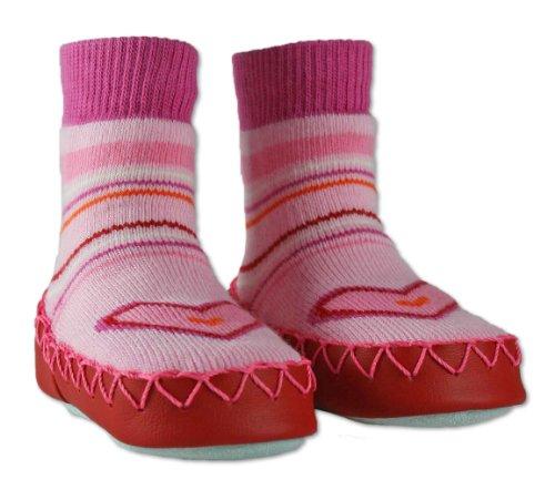 Nowali , Mädchen Mokkasins, Pink Multi Stripe with Heart Detail - Größe: 18m-2y