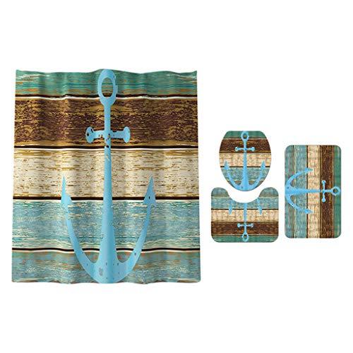MERIGLARE Komplettes Bad Set Duschvorhang mit Teppich & Amp; Matte Toilettendeckel